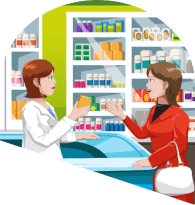 an image of a customer buying medicine